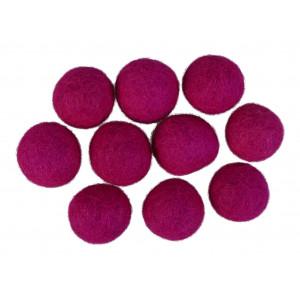 Filtkugler 20mm mørk pink p2 - 10 stk fra Diverse på rito.dk