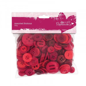 Docraft Assorterede Knapper Rød 7-40 mm 250 g