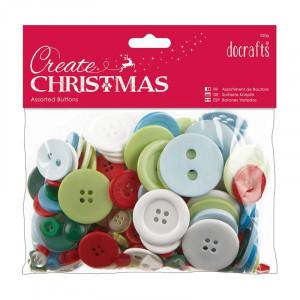 Docrafts – Docrafts assorterede knapper jul blandet 7-40 mm 250 g på rito.dk