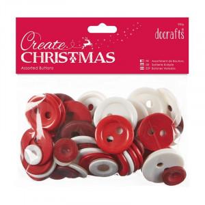 Docrafts – Docrafts assorterede knapper jul rød/hvid 7-40 mm 250 g på rito.dk