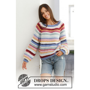 Happy Stripes by DROPS Design - Bluse Strikkeopskrift str. S - XXXL