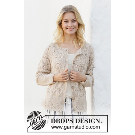 Image of   Birch Woods Jacket by DROPS Design - Jakke Strikkeopskrift str. S - XX