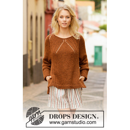 Autumn Spice by DROPS Design - Bluse Strikkeopskrift str. S - XXXL thumbnail