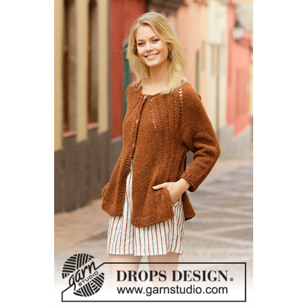 Autumn Spice Cardigan by DROPS Design - Jakke Strikkeopskrift str. S - thumbnail