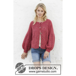 Berry Diamond Cardigan by DROPS Design - Jakke Strikkeopskrift str. S - XXXL