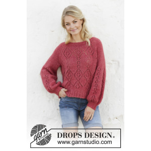 Berry Diamond by DROPS Design - Bluse Strikkeopskrift str. S - XXXL