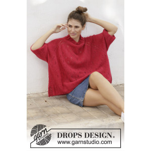 Strawberry Swing by DROPS Design - Bluse Strikkeopskrift str. S - XXXL