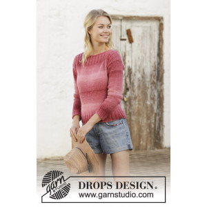 Raspberry Crush by DROPS Design - Bluse Strikkeopskrift str. S - XXXL