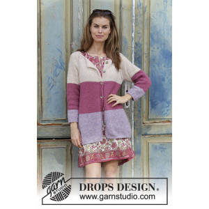 Lavender Rose by DROPS Design - Jakke Strikkeopskrift str. S - XXXL