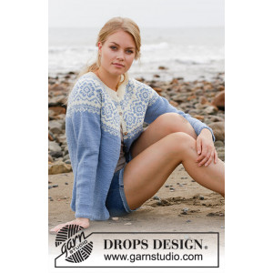 Periwinkle Jacket by DROPS Design - Jakke Strikkeopskrift str. S - XXXL