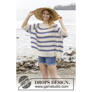 Riviera Stripes by DROPS Design - Bluse Strikkeopskrift str. S - XXXL