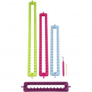 Strikkeringsæt / Knitting ring sæt Aflange - 4 størrelser inkl. nål og krog