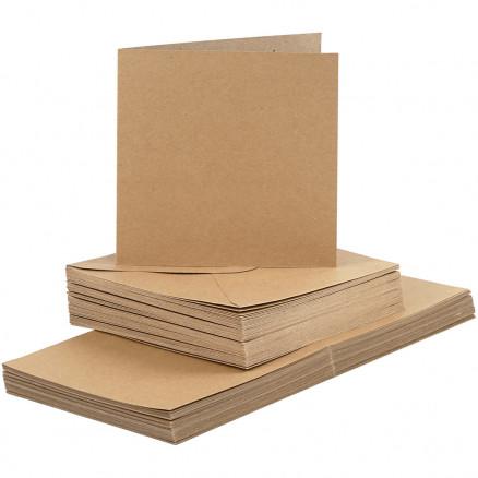 Image of   Kort og kuverter, kort str. 15x15 cm, kuvert str. 16x16 cm, natur, 50s