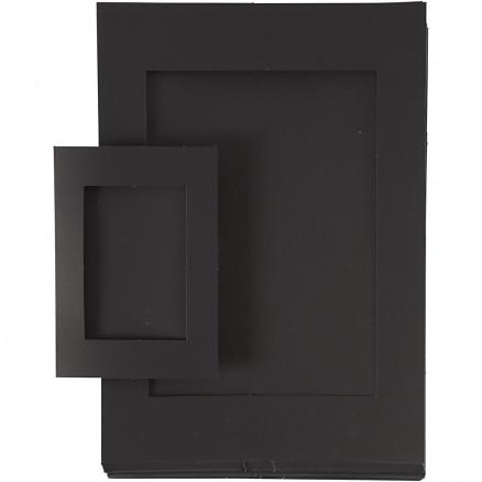Image of   Passepartoutrammer, str. A4+A6 , udskæring: 6,5x12,5+16x21 cm, sort, 1