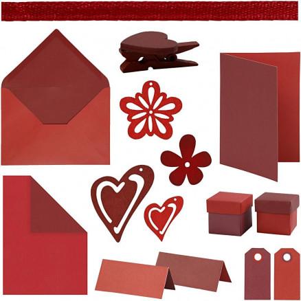 Image of   Happy Moments - Kortfremstilling, rød, rød/vinrød, vinrød, vinrød/rød,