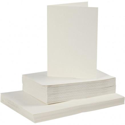 Image of   Kort og kuverter, kort str. 10,5x15 cm, kuvert str. 11,5x16,5 cm, råhv