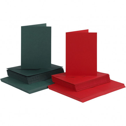 Image of   Kort og kuverter, kort str. 10,5x15 cm, kuvert str. 11,5x16,5 cm, grøn
