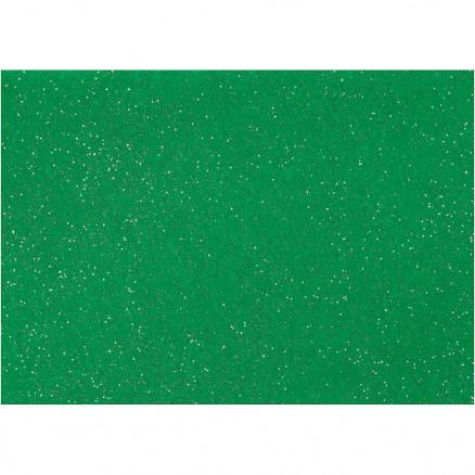Image of   Hobbyfilt, A4 21x30 cm, tykkelse 1 mm, grøn, sølv glimmerdrys, 10ark