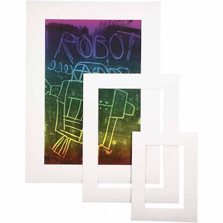Image of   Passepartoutrammer , tykkelse 0,4 mm, 270 g, hvid, 75stk.