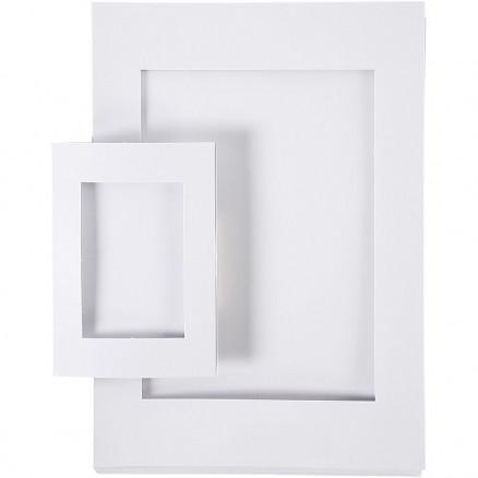 Image of   Passepartoutrammer, str. A4+A6 , udskæring: 6,5x12,5+16x21 cm, hvid, 2