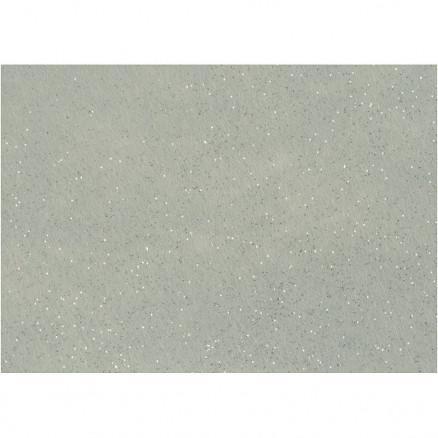 Image of   Hobbyfilt, A4 21x30 cm, tykkelse 1 mm, grå, sølv glimmerdrys, 10ark