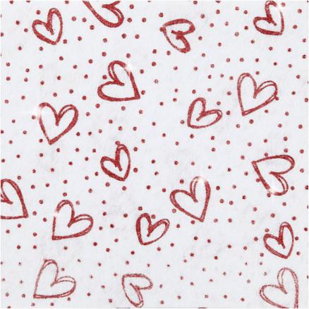 Image of   Hobbyfilt, A4 21x30 cm, tykkelse 1 mm, hvid, rød glimmer hjerter og pr