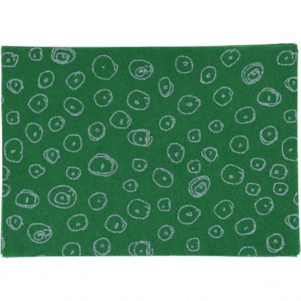 Image of   Hobbyfilt, A4 21x30 cm, tykkelse 1 mm, grøn, blå glimmer cirkler, 10ar