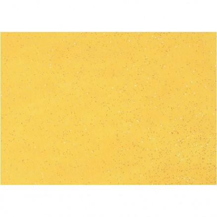 Image of   Hobbyfilt, A4 21x30 cm, tykkelse 1 mm, gul, sølv glimmerdrys, 10ark