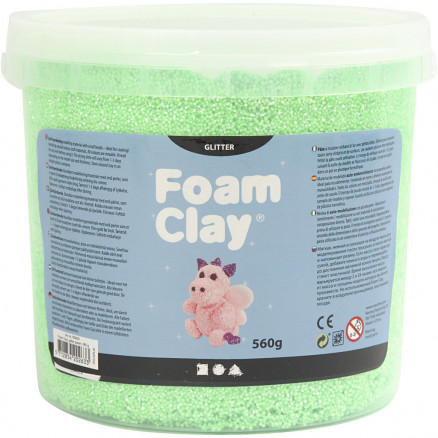 Image of   Foam Clay®, grøn, glitter, 560g