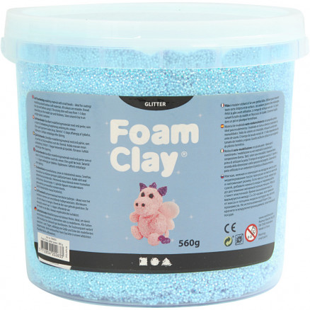 Image of   Foam Clay®, lys blå, glitter, 560g