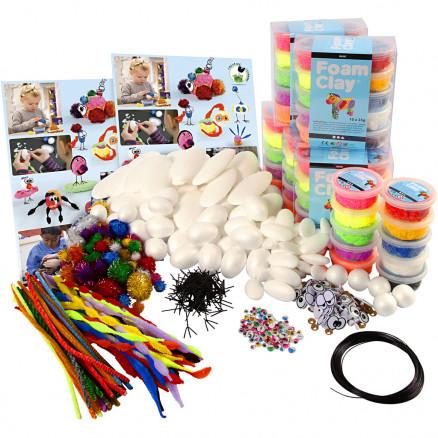 Image of   Klassesæt til figurer med Foam Clay®, ass. farver, glitter farver, hvi