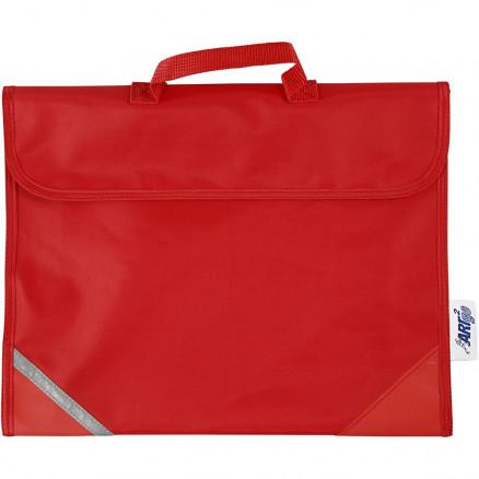 Skoletaske, str. 36x29 cm, dybde 9 cm, rød, 1stk. thumbnail