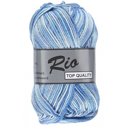 Lammy Rio Garn Print 623 Hvid/Blå 50 gram thumbnail
