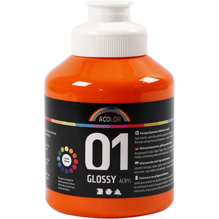 Image of   A-Color akrylmaling, orange, 01 - blank, 500ml