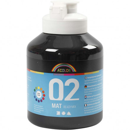 Image of   A-Color akrylmaling, sort, 02 - mat (plakatfarve), 500ml