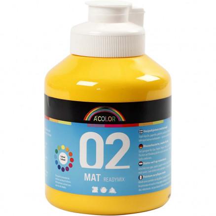 A-Color akrylmaling, gul, 02 - mat (plakatfarve), 500ml thumbnail