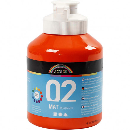 Image of   A-Color akrylmaling, orange, 02 - mat (plakatfarve), 500ml