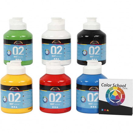 Image of   A-Color akrylmaling - farveskole, primærfarver, 02 - mat (plakatfarve)