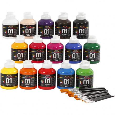 Image of   A-Color blank akrylmaling, ass. farver, klassesæt, 1sæt