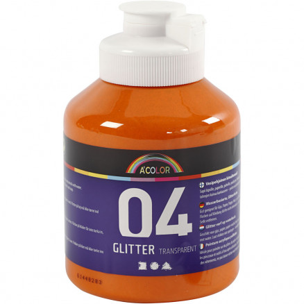 Image of   A-Color akrylmaling, orange, 04 - glitter, 500ml