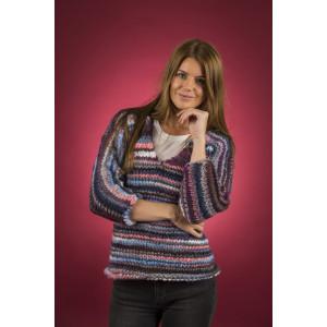 Mayflower Easy Knit Damesweater med V-hals - Bluse Strikkeopskrift str. S - XXXL