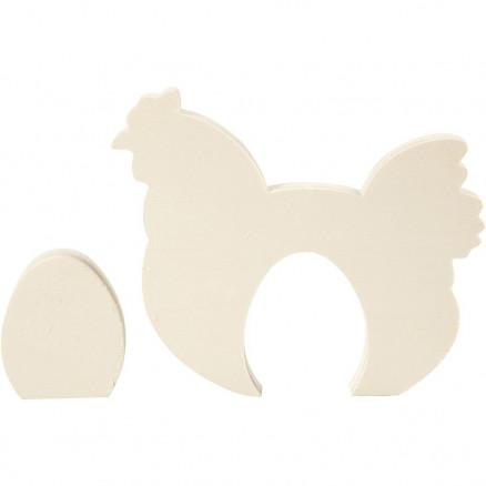 Image of   2i1 figur, høne med æg, H: 7,5+16 cm, B: 6,3+19,5 cm, krydsfiner, 1sæt