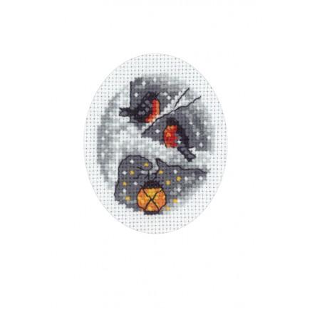 Image of   Permin Broderikit Julekort Fugle i træ 9x13cm