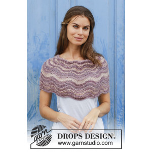 Summer Sand by DROPS Design - Poncho Strikkeopskrift One-size