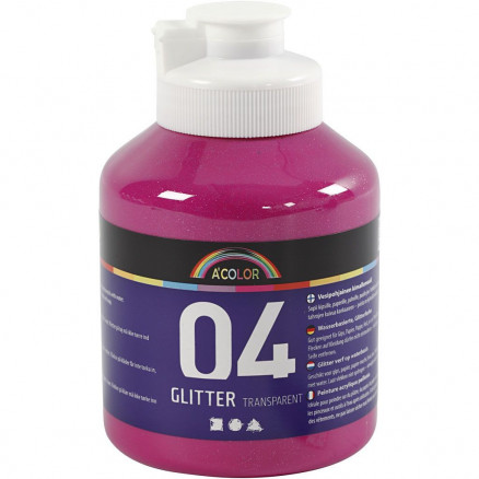 Image of A-Color akrylmaling, pink, 04 - glitter, 500ml
