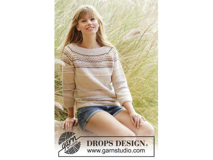 Image of   Freja by DROPS Design - Stribet bluse Strikkeopskrift str. S - XXXL