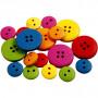 Træknapper, diam. 12-20 mm, hulstr. 1,5-2 mm, ass. farver, kinesisk bærtræ, 2-4 huller, 360stk.