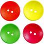Træknapper, diam. 25 mm, hulstr. 2 mm, neonfarver, kinesisk bærtræ, 2 huller, 80stk.