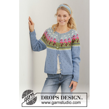Image of   Flamingo Parade Jacket by DROPS Design - Jakke Strikkeopskrift str. S