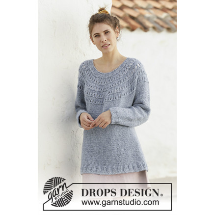 Image of   April Showers by DROPS Design - Bluse Strikkeopskrift str. S - XXXL
